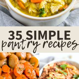 collage of 3 simple pantry recipes