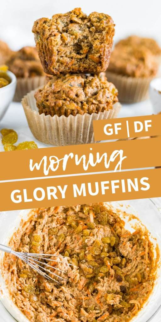 baked morning glory muffins and muffin batter