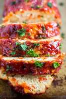 close up of 3 pieces of sliced gluten free meatloaf