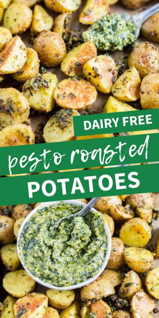 pesto roasted potatoes on a sheet pan with a spoon collage image for pinterest