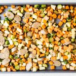 maple dijon sausage and veggies on a sheet pan