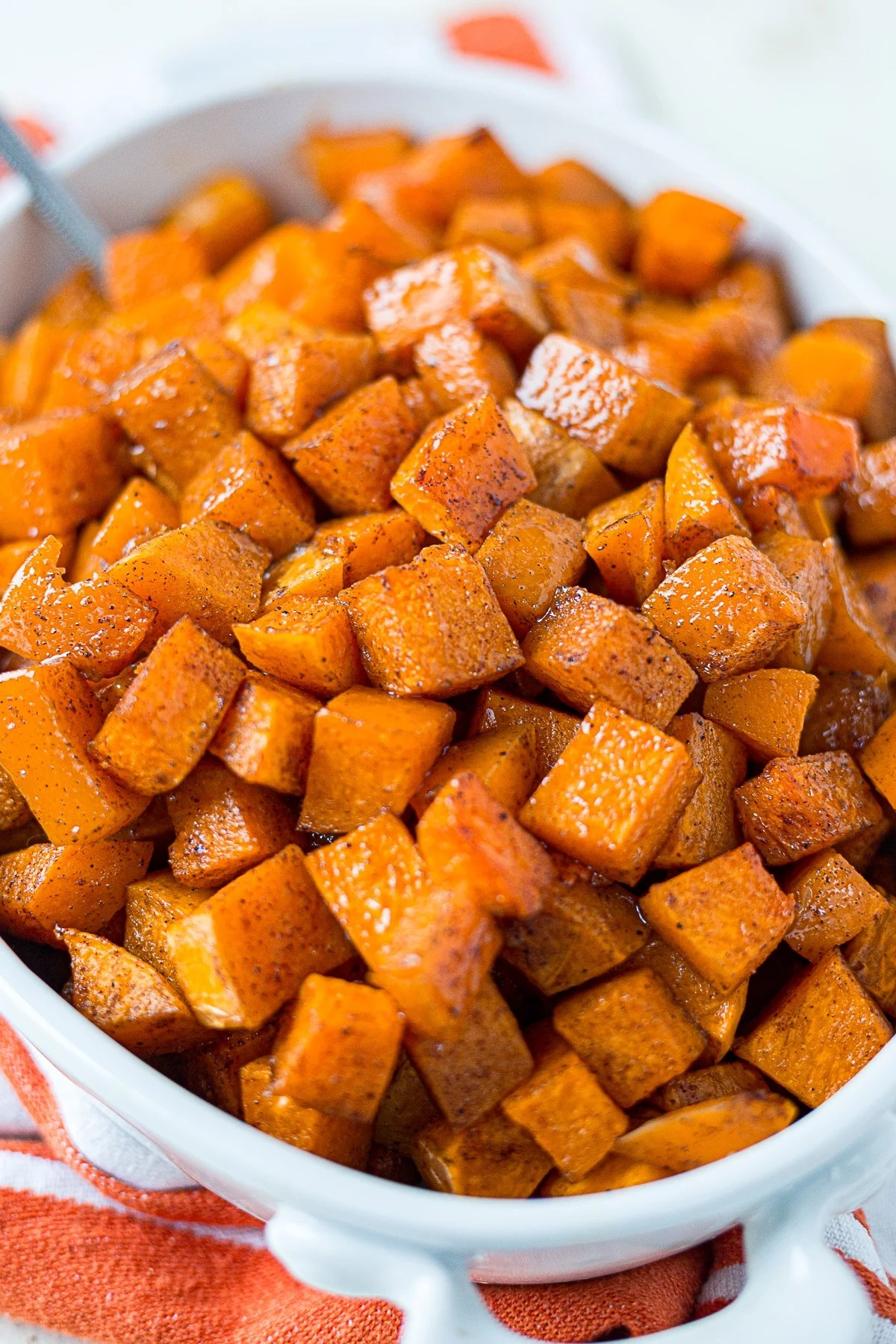close up of cinnamon roasted butternut squash