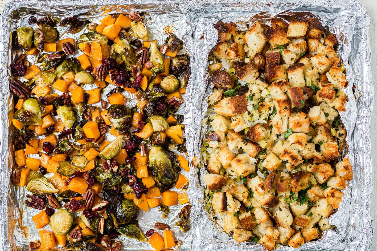 roasted veggies and stuffing for thanksgiving dinner