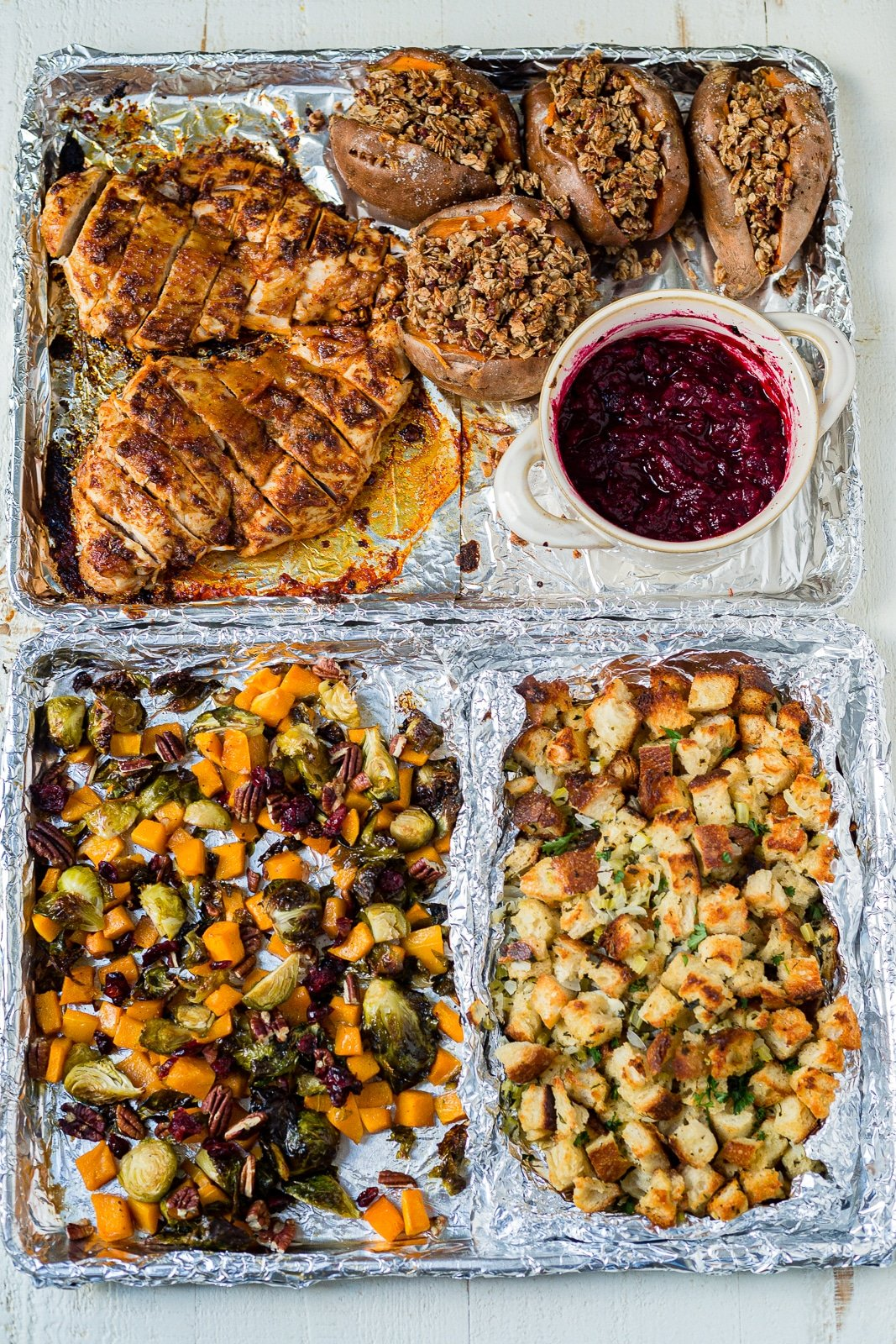 thankdsgiving dinner on two sheet pans