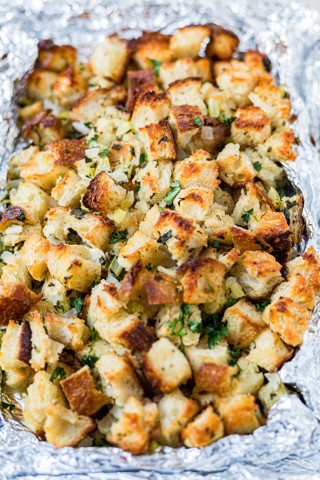 homemade easy sourdough stuffing on a sheet pan