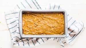almond flour banana bread batter in a loaf pan