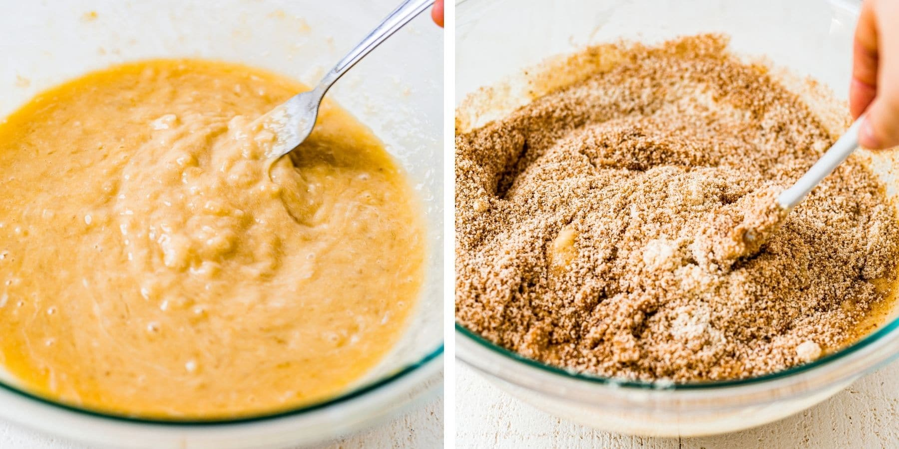 step by step pictures showing how to mix the wet and dry ingredients for almond flour banana bread