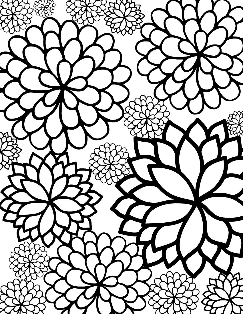 Cute Flowers Coloring Pages : flowers, coloring, pages, Printable, Bursting, Blossoms, Flower, Coloring