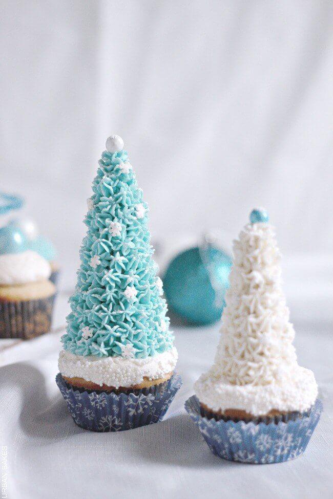 Easy Disney Frozen Cake Ideas - Winter Wonderland Cupcakes by Urban Bakes