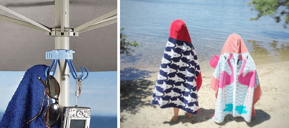 Beach Guide with Kids. Tips and Tricks. Umbrella Hook. Pottery Barn Kids Hooded Towels.