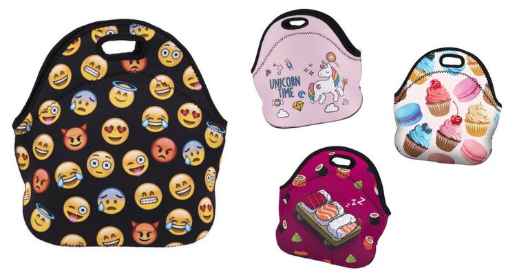 Emoji unicorn sushi neoprene lunch bags for kids and teens | back to school shopping guide