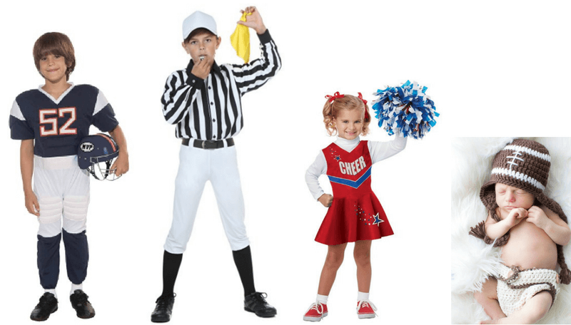 Creative Halloween Costumes for Siblings - Football Player, Ref, Cheerleader