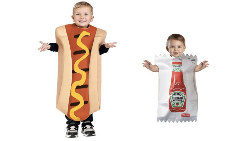 Creative Halloween Costumes for Siblings - Hot Dog and Ketchup