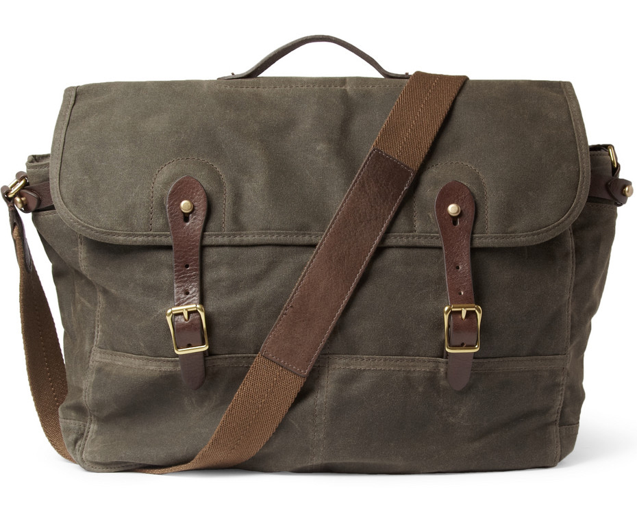 J crew abingdon waxed cotton-canvas and leather messenger bag