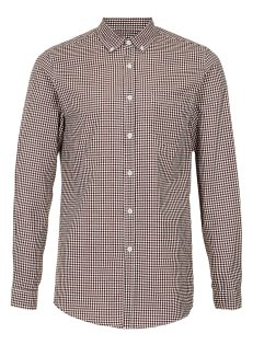 BURGUNDY GINGHAM LONG SLEEVE SMART SHIRT