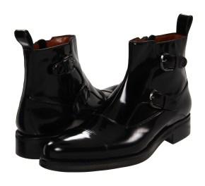 A. Testoni - Brushed Calf Monk Strap Boot (Nero) - Footwear