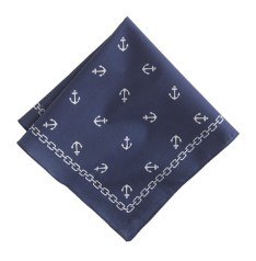 ITALIAN COTTON POCKET SQUARE IN ANCHOR PRINT