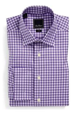 David Donahue Trim Fit Dress Shirt - purple checks