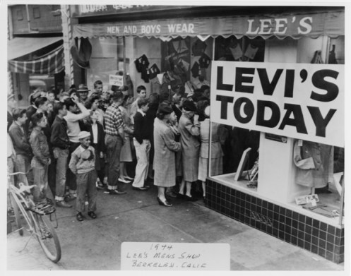 During World War II clothing manufacturers – including Levi Strauss & Co. – had to cut back on their production to save raw materials for the war effort. Even when the war was over, it took time to get factories back up to speed. When a store got its quota of Levi's® jeans and jackets onto its shelves, they were mobbed by denim-deprived locals. This store was in Berkeley, California.