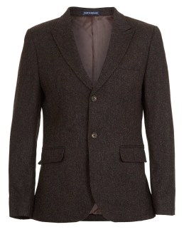 BROWN HERRINGBONE TWEED SUIT JACKET