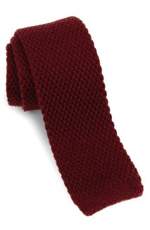 red Skinny Knit Tie