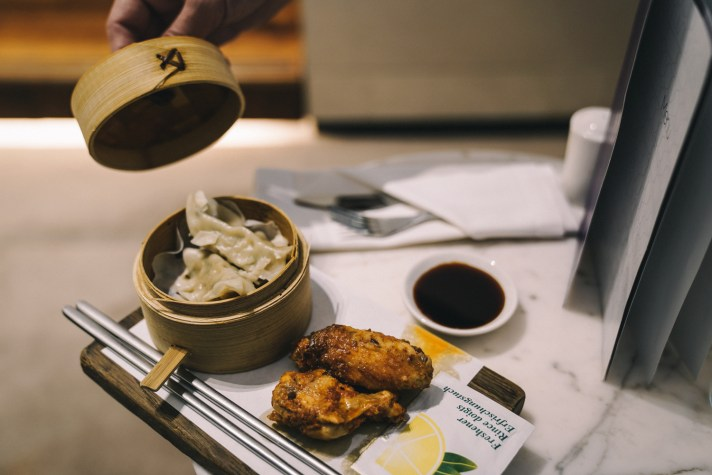 London---Virgin-Atlantic-Upper-Clubhouse-wings-and-gyoza
