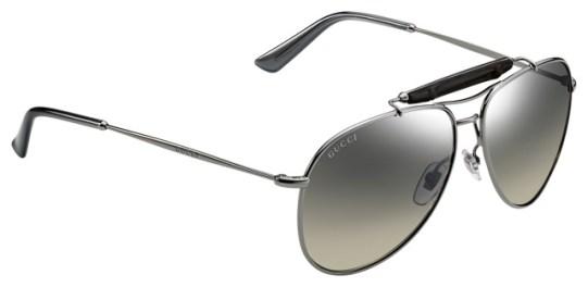 Gucci dark ruthenium aviator sunglasses with bamboo