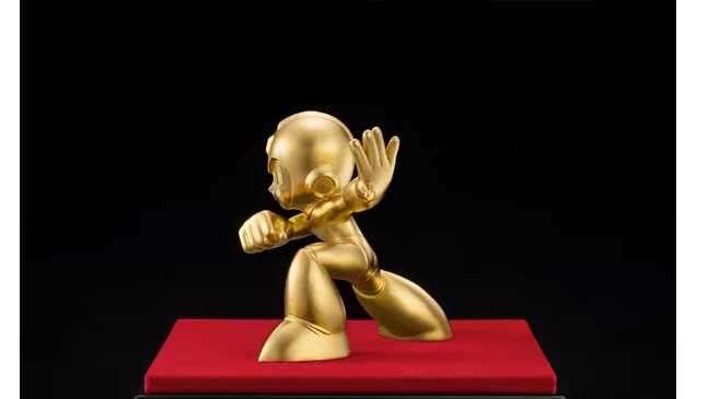 Capcom, figurka, Mega-man, Mega Man, złoto, złota figurka, złoty Mega-man