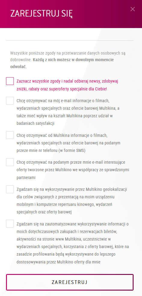 Zgody marketingowe w Multikino