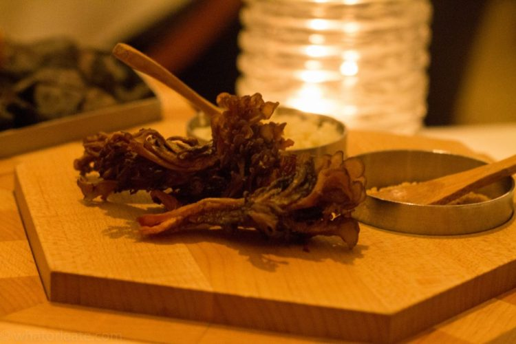Eleven Madison Park - Hen of the Woods with Amaranth and Horseradish