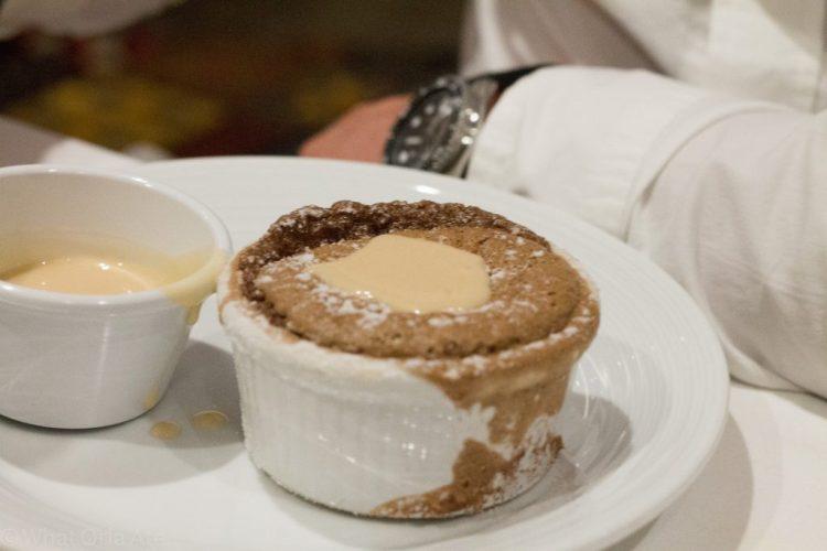 Chocolate Souffle with Praline Sauce