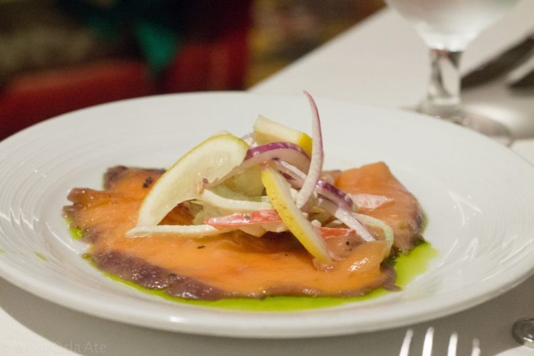 Salmon Gravlax (blueberry-dill cured, crème fraîche)