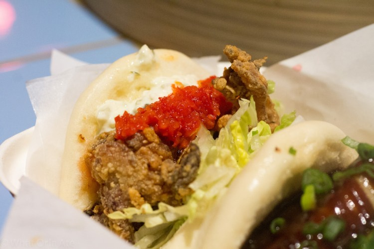 Yum Bun Fried chicken, tarutaru sauce, chilli dressing, lettuce