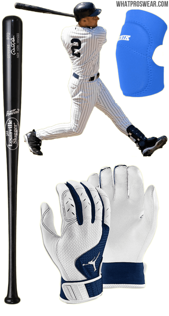 derek jeter bat, derek jeter batting gloves, derek jeter elbow guard, louisville slugger p72, jordan team batting gloves, benik e-400
