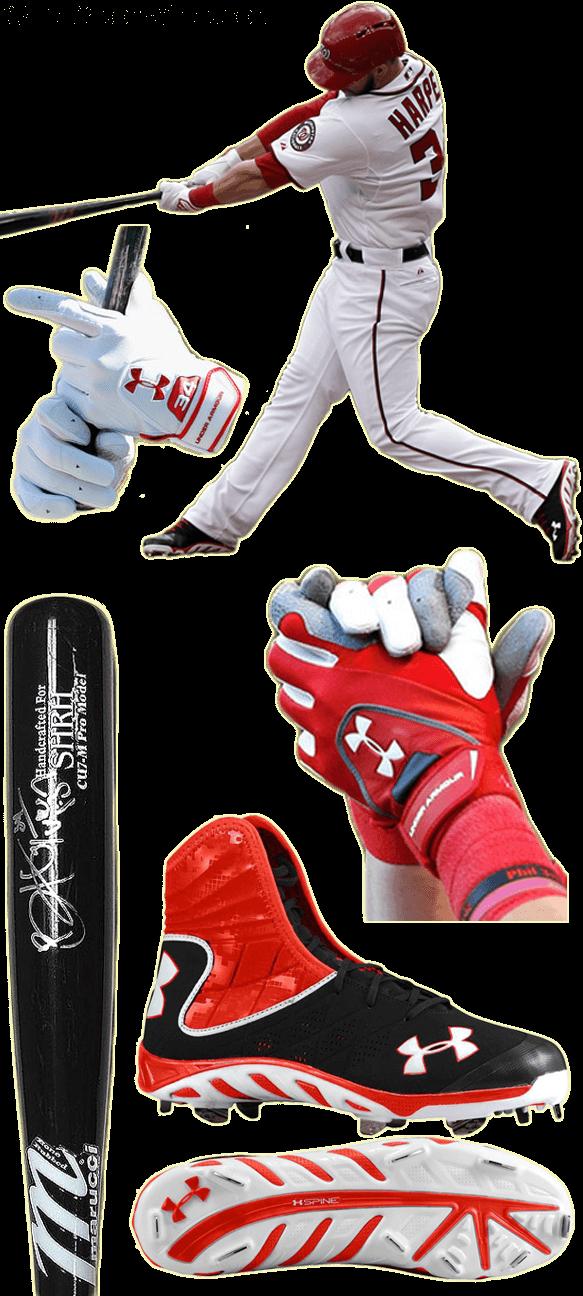 dd2eafece249 What Pros Wear Update: Bryce Harper (Bat, Batting Gloves, Cleats,  Headphones)