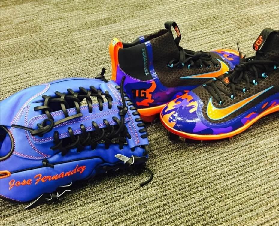Jose Fernandez Blue Nike Glove and Cleats