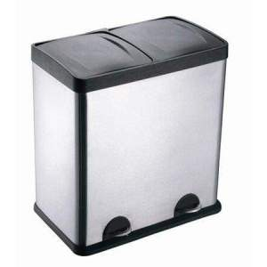 13-Gallon 2-Compartment Trash & Recycling Bin Combo, Stainless Steel