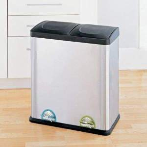 16-Gallon 2-Section Recycle Bin Combo, Color-Coded Step-On Pedals