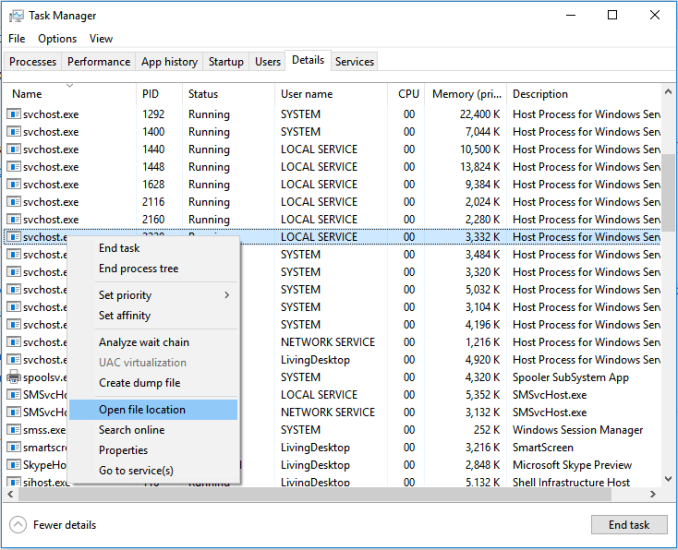 Open svchost.exe file location