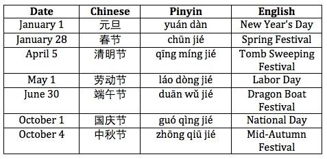 National Calendar of China
