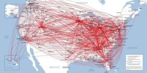 Airways Map Of The United States Of America