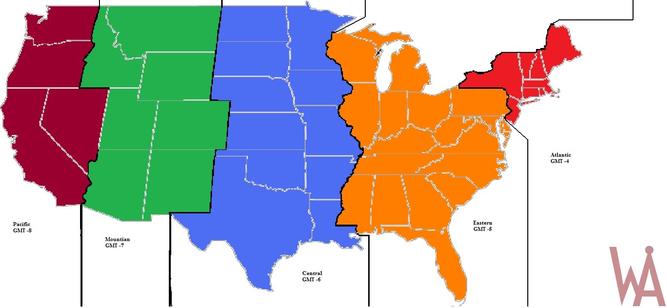 Alternate Time Zones Map Of The Usa Whatsanswer