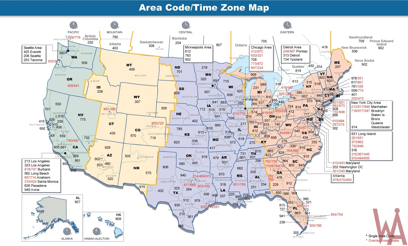 Area codes & time zones map of the USA