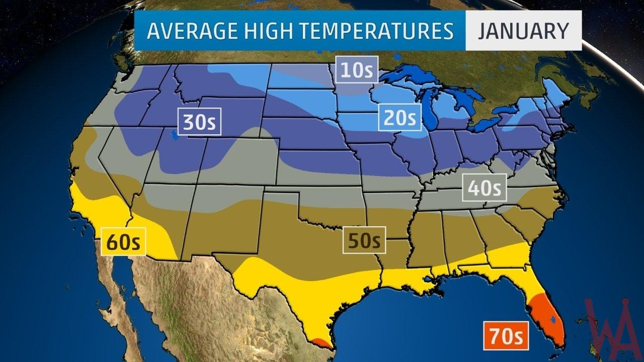 Average High Temperature of the US January