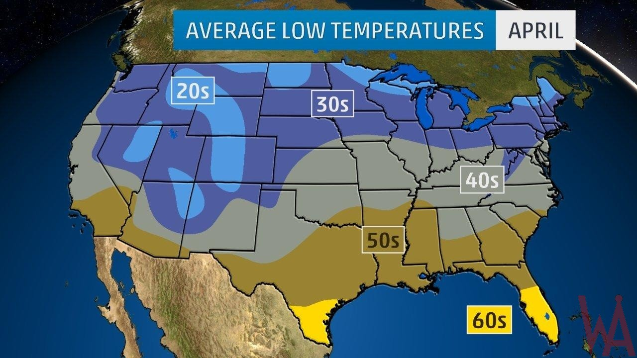 Average Low Temperature of the US April | WhatsAnswer