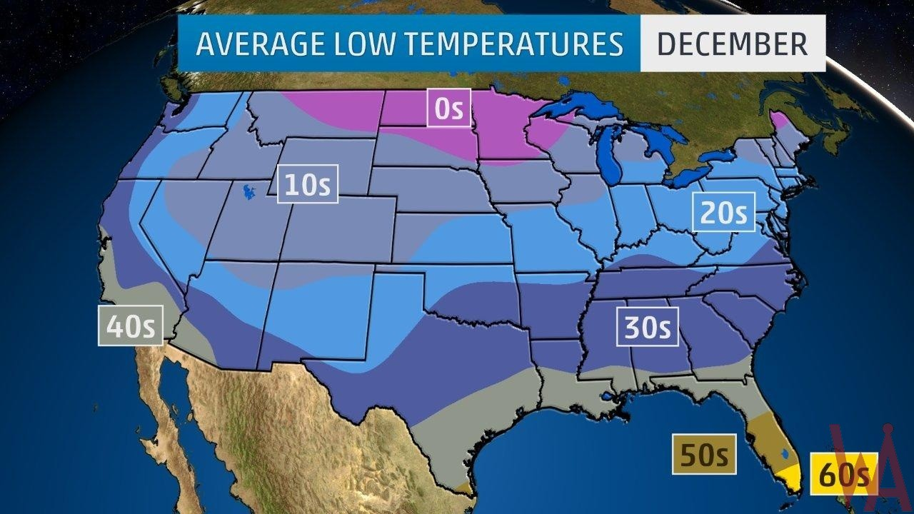 Average Low Temperature of the US December