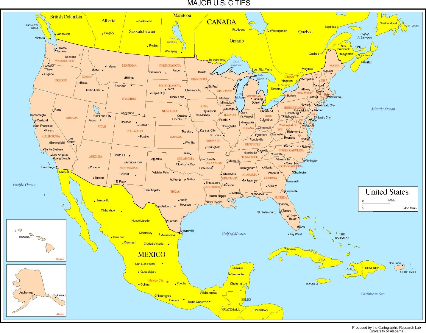 State Name Capital And cities Map of the USA WhatsAnswer