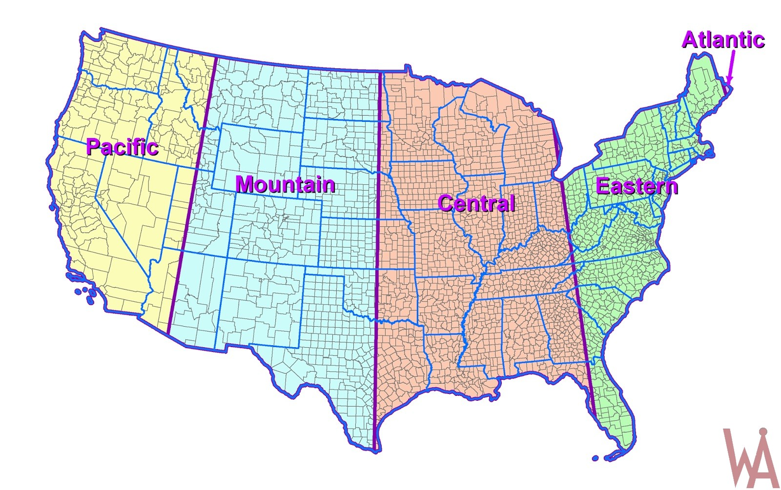 Colorful time zone Map of USA | WhatsAnswer on zone map canada, secrets of usa, information of usa, flowers of usa, zone map of cambodia, zone map of africa, zone map of hong kong, directors of usa, hardiness zones of usa, zone map of maine, zone map of nepal, climate zones map usa, plants of usa, zone chart of usa,