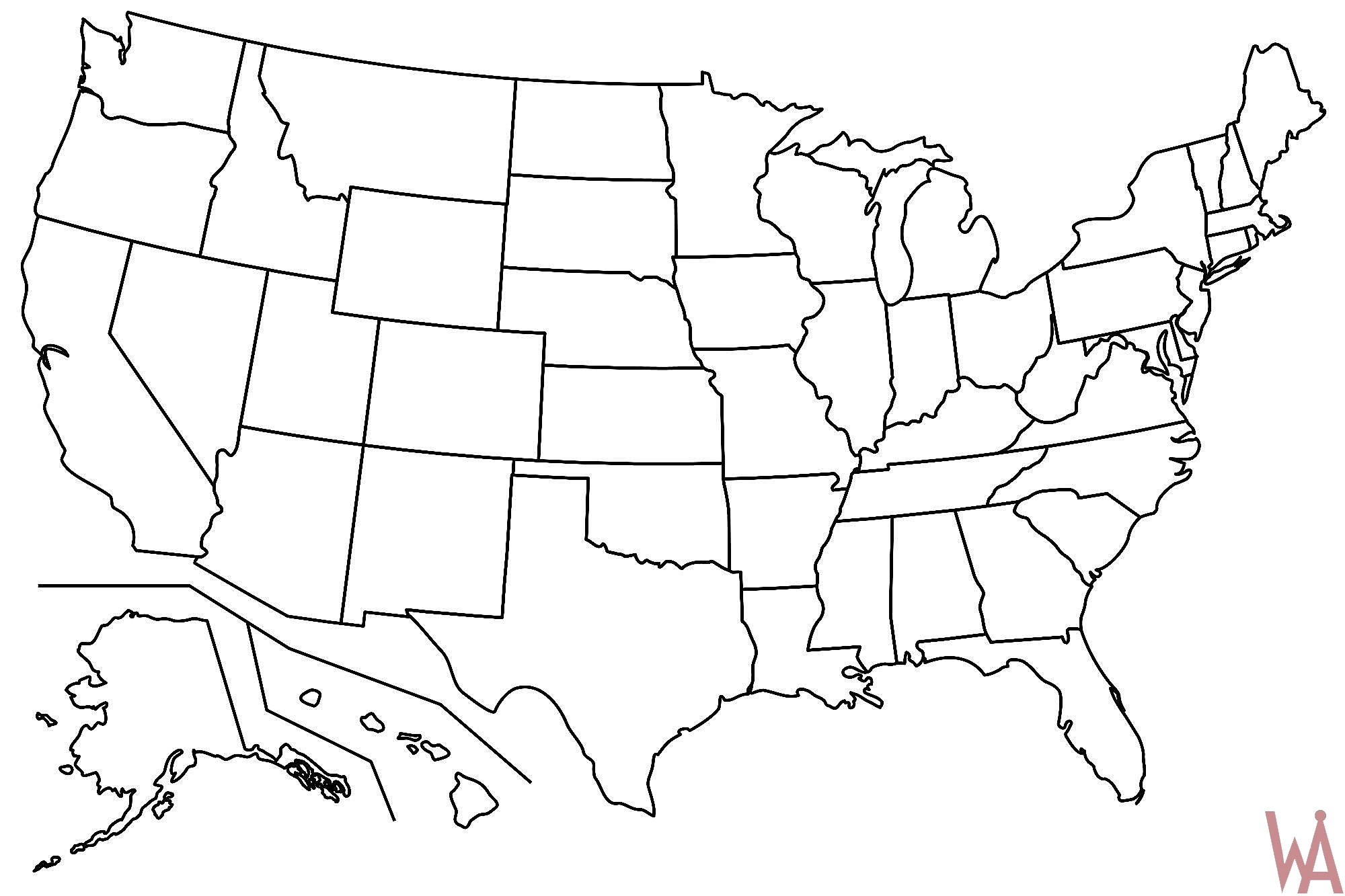 Outline Maps Of The Usa