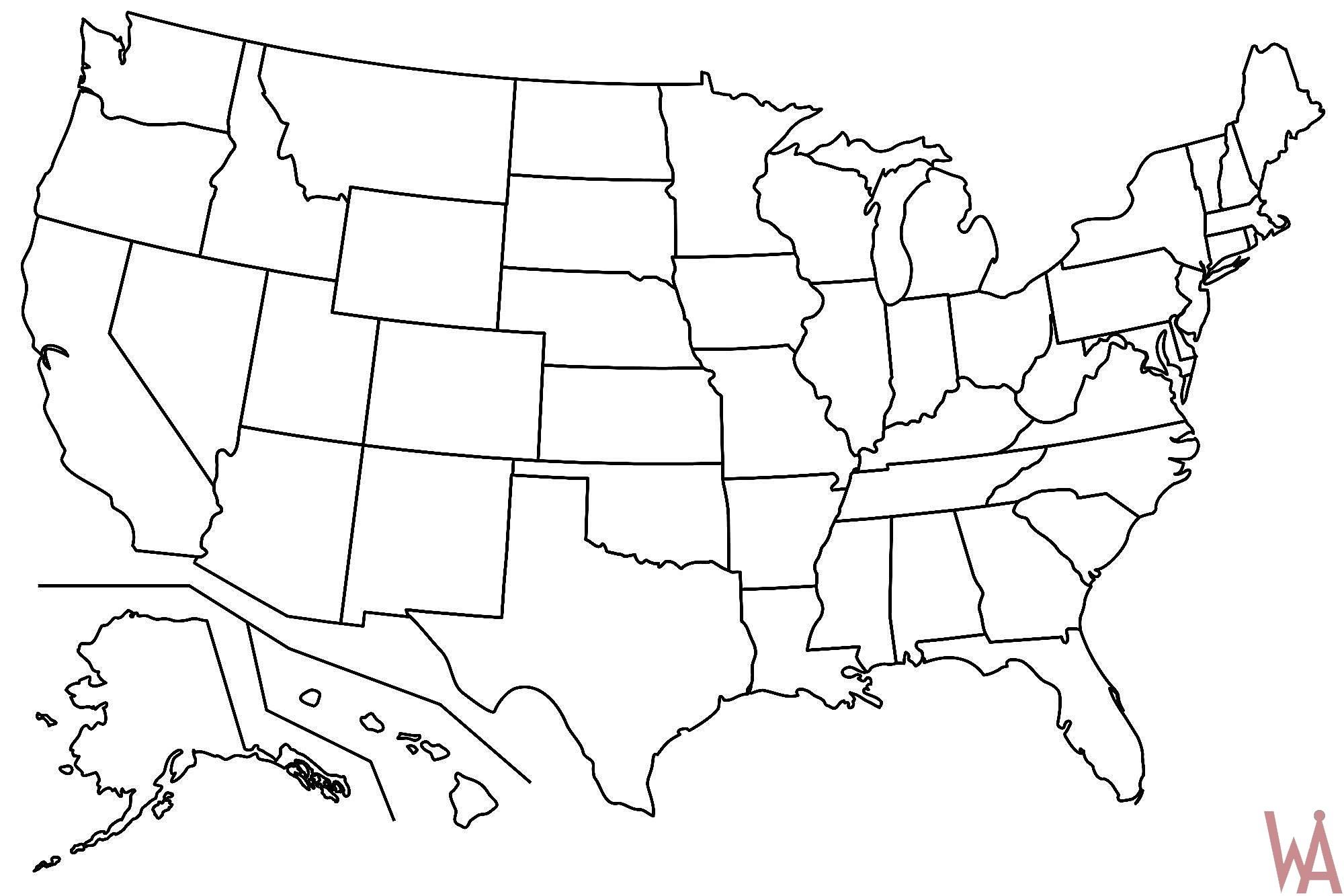Blank Map Of the USA | WhatsAnswer
